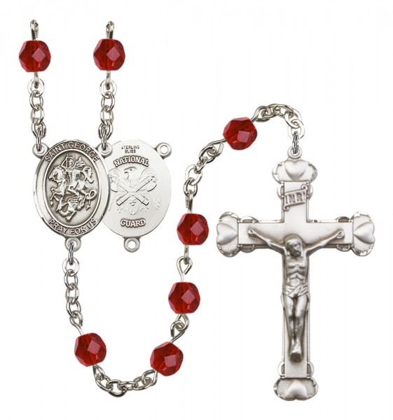 Women's St. George National Guard Birthstone Rosary - Ruby Red