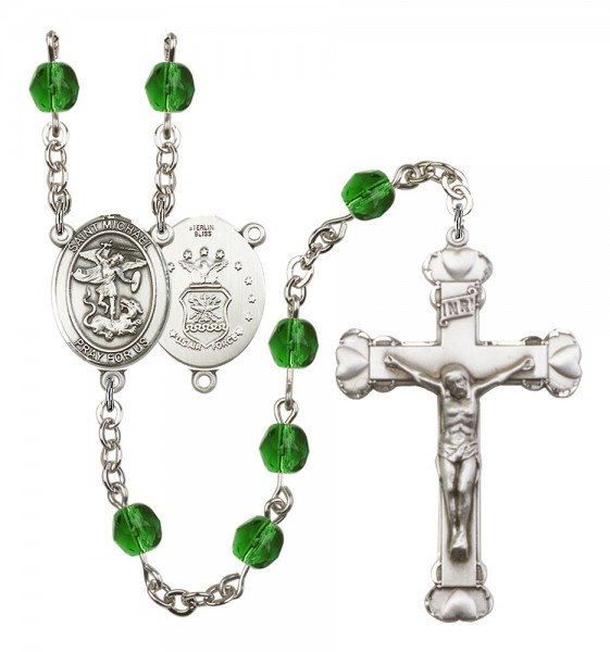 Women's St. Michael Air Force Birthstone Rosary - Emerald Green