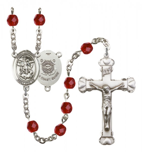 Women's St. Michael Coast Guard Birthstone Rosary - Ruby Red