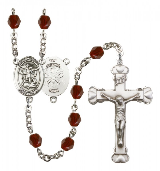 Women's St. Michael National Guard Birthstone Rosary - Garnet