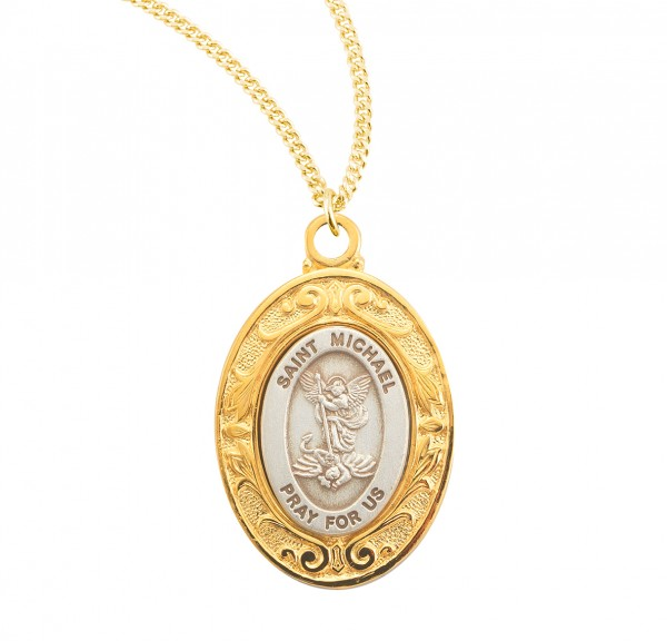 Women's St. Michael Oval Sterling Silver Medal - Gold Plated