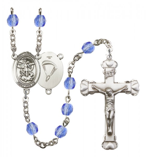Women's St. Michael Paratrooper Birthstone Rosary - Sapphire