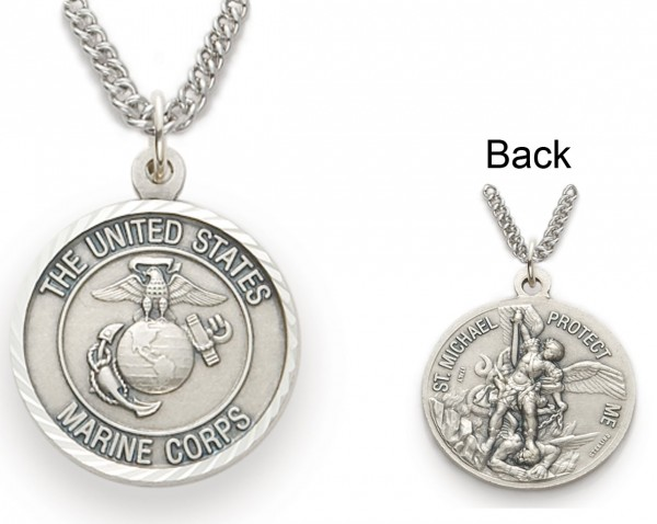Womens St. Michael U.S. Marines Medal 3/4 inch with Chain - Silver