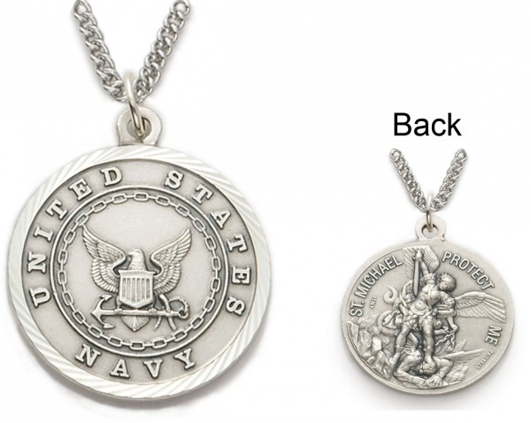 Womens St. Michael U.S. Navy Medal 3/4 inch with Chain - Silver