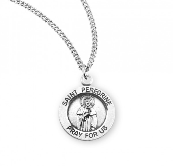 Women's St. Peregrine Round Medal - Sterling Silver