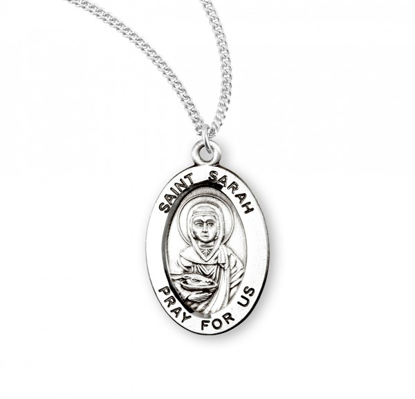 Women's St. Sarah Oval Medal - Sterling Silver