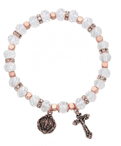 Women's Stretch Bracelet with Crystal and Copper Beads Cross and Mary Charms - Clear