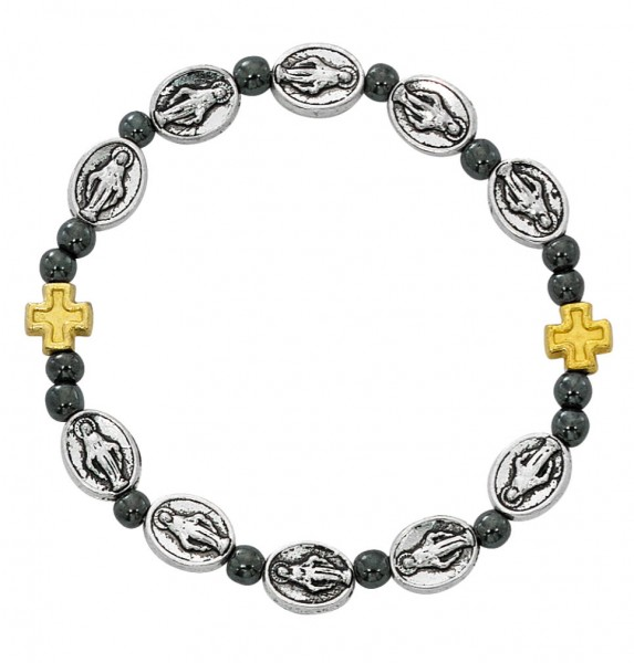 Women's Stretch Bracelet with Miraculous Charms and Hematite Beads - Silver