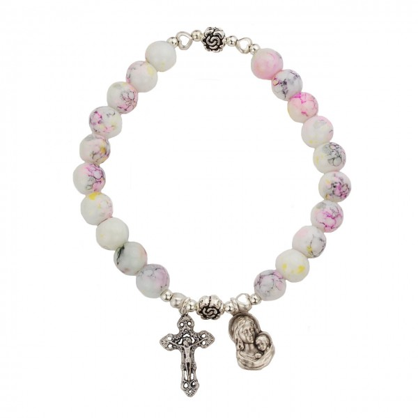 Women's Stretch Bracelet with Miraculous and Cross Charms - Pink