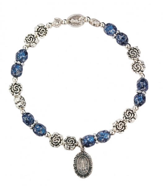 Women's Stretch Bracelet with Our Lady of Fatima and Blue Marbleized Beads - Blue