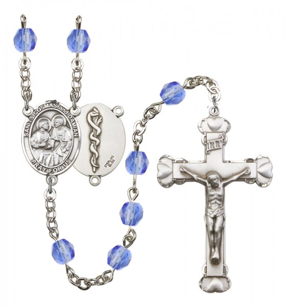 Women's Sts. Cosmas & Damian Doctors Birthstone Rosary - Sapphire