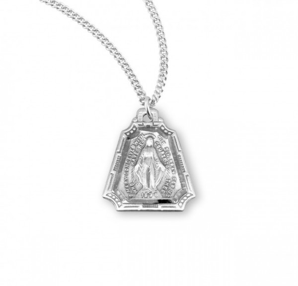 Women's Triangular Border Miraculous Medal - Sterling Silver