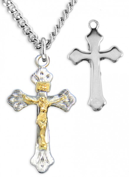 Women's Budded Tip Crucifix Pendant High Polish - Two-Tone Silver