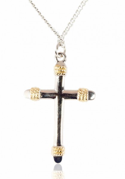 Women's Two-tone Cross Necklace with rope Tips and 18 Inch Chain - Silver