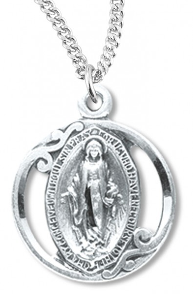Women's or Youth Round Cut Out Miraculous Medal Necklace - Sterling Silver