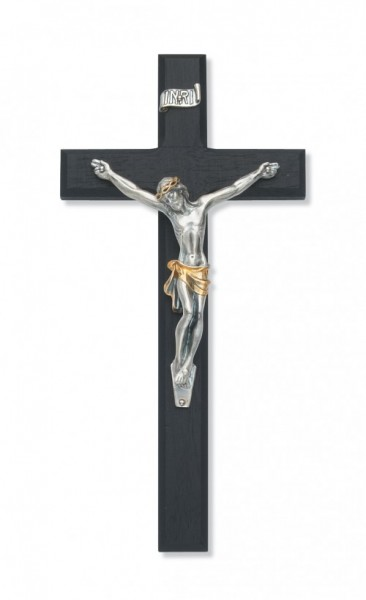 Black Wood Wall Crucifix with Two-Tone Corpus 10 inch Beveled - Two-Tone