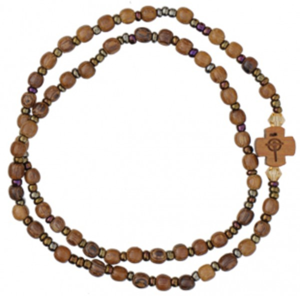 Wood Twist Rosary Bracelet - 5mm - Brown