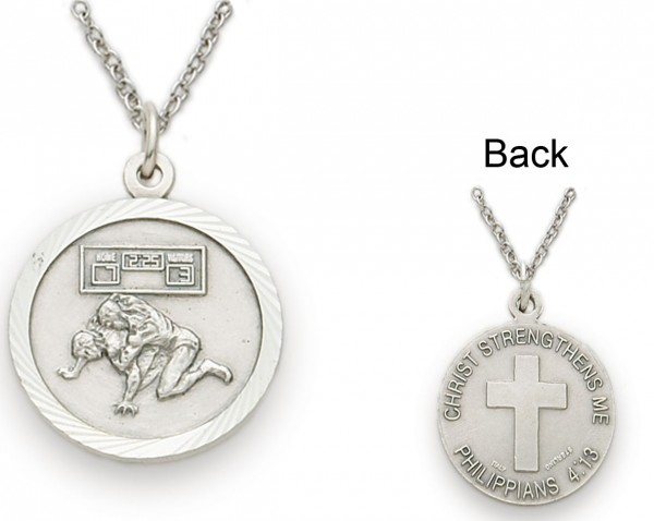 Wrestling Sports Medal 3/4 inch with Chain - Silver