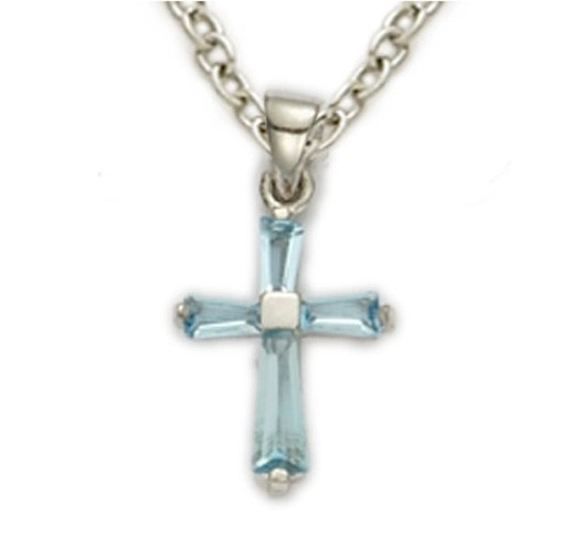 Youth Birthstone Baguette Cross Necklace - Aqua