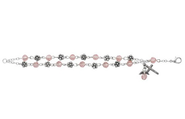 Youth Crystal and Flower Bracelet - Silver tone