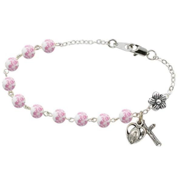 Youth Flower Ceramic Beads Rosary Bracelet 5 inches - White | Pink