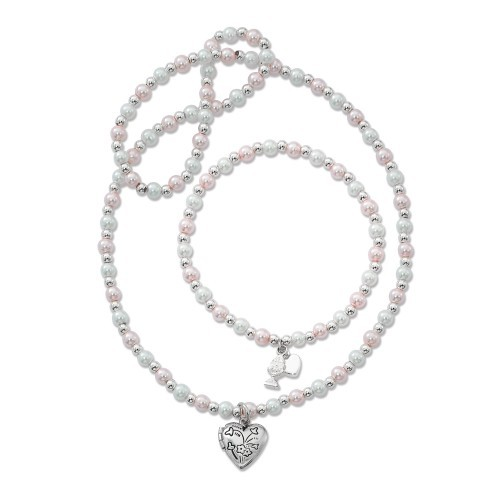Youth Pink and White Necklace Bracelet Set - Pink | White | Silver
