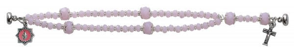 Youth Rosary Bracelet with Pink Beads 6.5 Inches - Pink