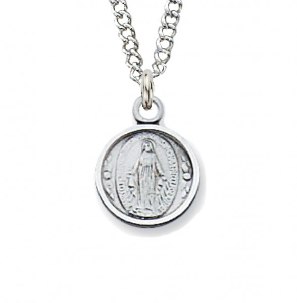 Youth Round Sterling Silver Miraculous Medal Necklace - Silver