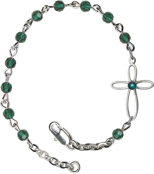 Girls Silver Cross Bracelet 4mm Swarovski Crystal beads - Emerald Green
