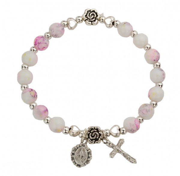 Youth Stretch Bracelet with Marbleized Beads and Mary and Cross Charms - Multi-Color