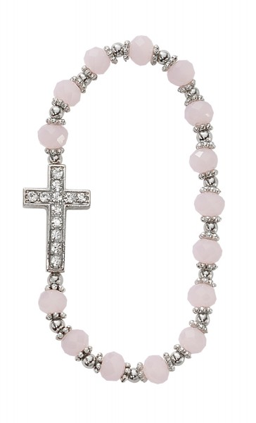 Youth Stretch Bracelet with Cross and Pink Glass Beads - Pink
