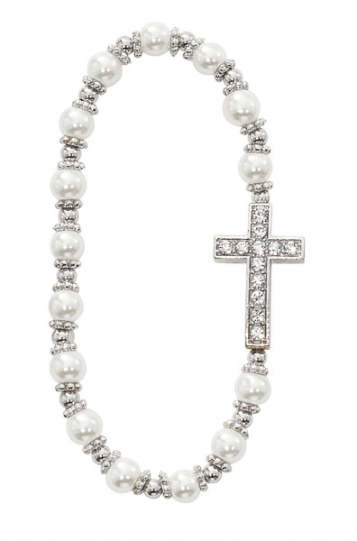 Youth Stretch Bracelet with Cross and White Glass Beads - White