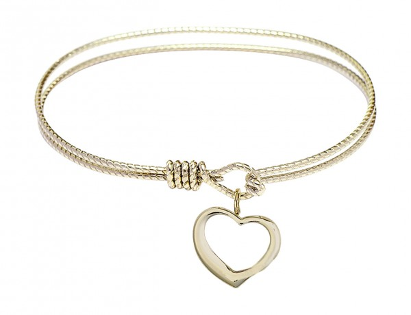 Cable Bangle Bracelet with a Contemporary Open Heart Charm - Gold