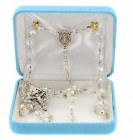 6mm Crystal Swarovski Bead Rosary in Sterling Silver