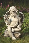 Angel Cherub with Dove Garden Statue - 12 inch