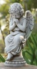 "Angel on Pedestal Garden Statue - 17""H"