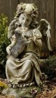 """Angel with Kitten Garden Statue - 16""""H"""