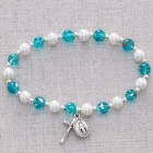 Aqua Stretch Rosary Bracelet with Faux Pearls