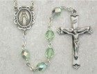 August Birthstone Rosary (Peridot) - Sterling Silver