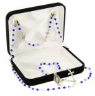 Blue Beaded Rosary Necklace and Bracelet Set [BR0062]