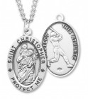 Men's Sterling Silver Saint Christopher Baseball Medal