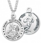 Men's Sterling Silver Round Saint Christopher Basketball Medal