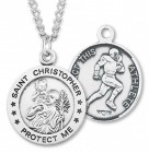 Men's Sterling Silver Round Saint Christopher Football Medal