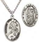 Men's Sterling Silver Saint Christopher Football Medal