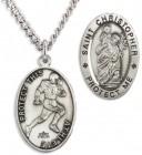 Men's Sterling Silver Saint Christopher Football Medal