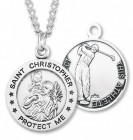 Boy's St. Christopher Golf Medal Sterling Silver