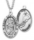 Men's St. Christopher Hockey Medal Sterling Silver