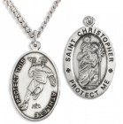 Boy's St. Christopher Lacrosse Medal Sterling Silver