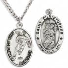Men's St. Christopher Lacrosse Medal Sterling Silver