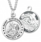 Boy's St. Christopher Swimming Medal Sterling Silver
